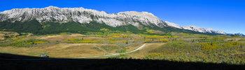 Fall colors along Livingstone Ridge in the Canadian Rockies.